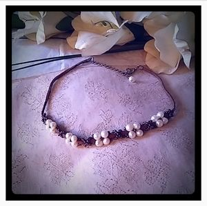 Vintage Faux Pearl Flower Clusters Choker
